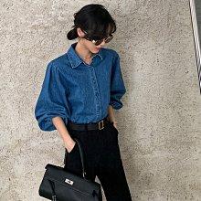 ►DR.DESIGN│DR32601-復古歐美小眾 冷淡風 高級設計感 泡泡袖 牛仔襯衫