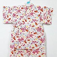✪胖達屋日貨✪褲款 110cm  米底 水紋 金魚 櫻花 日本製 女 寶寶 兒童 和服 浴衣 甚平 抓周 收涎 攝影