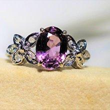 【艾琳珠寶藝術】無燒天然紫色尖晶石1.45CT鑽戒,薰衣草紫,未加熱處理,附台北寶石TGC鑑定書--預約訂製款