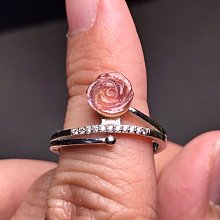 天然碧璽戒指 粉碧璽手工雕刻立體玫瑰花朵925銀鑲鑽鋯石活圍戒指 電氣石指環飾品配件《舒唯水晶》母親節禮物