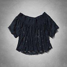 Maple麋鹿小舖 Abercrombie&Fitch * AF 深藍色蕾絲簍空露肩上衣Kelly Top*(現貨S號)
