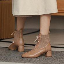 Fashion*定製大小碼短靴 彈力針織拼接中跟女靴 百搭舒適33碼44碼45碼/跟高5.5CM 32-46碼 黑色 黃