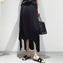 新品搶先看-小眾設計 暗黑 不規則 黑色 高腰 A字裙 炸街款 高溫壓摺 層次感 薄款 經典百摺裙 黑/灰