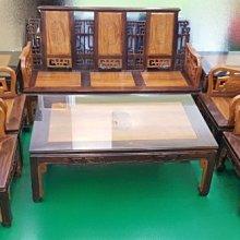 樂居二手家具生活館(中) 台中全新中古傢俱買賣 A30503*柚木8件式組椅*木頭沙發含茶几矮桌/客廳桌椅拍賣電視櫃