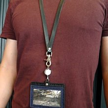 KH手工皮革工作室 MIT伸縮釦帶 橫式識別證皮套 手工真皮證件套 門禁卡 伸縮掛繩 悠遊卡 信用卡 感應卡 票卡夾皮件