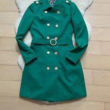 綠色合身顯瘦剪裁風衣外套
