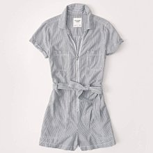Maple麋鹿小舖 Abercrombie&Fitch * AF 直條紋拉鍊設計連身褲 * ( 現貨M號 )