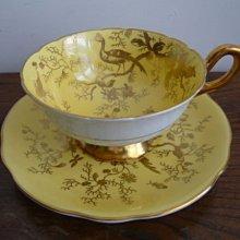 英國COALPORT 十九世紀奇異鳥與昆蟲手繪骨瓷咖啡杯