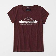 Maple麋鹿小舖 Abercrombie&Fitch * AF 棗紅色電繡字母麋鹿短T* ( 現貨S號 )
