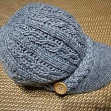 灰色雙層毛線編織帽 毛帽