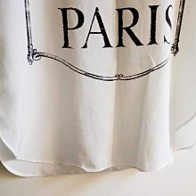 NAIVE OVERLAP小巴黎白色雪紡短袖圓領上衣