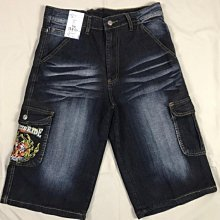 42-51腰伸縮彈性刷白圖騰口袋短褲