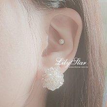 LilyStar.優雅晶透水晶花團耳環 【IL17114】