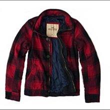美國 AM&PM~Hollister Co, HCO (AF, A&F 的副牌) West Street類似款 男版紅色格紋鋪棉外套~ L 號
