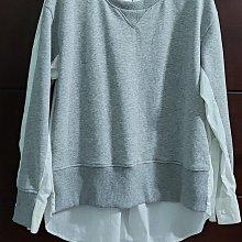 (冬出清)歐洲品牌 EUROPEAN CULTURE 義大利製,異材質接合前短淡灰色棉衫(內刷毛)後長白襯衫,尺寸M碼有彈無內裡 Fendi 迪奧 whiple
