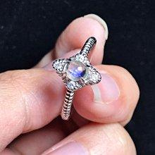 天然月光石戒指 玻璃體藍光月光石925銀鑲鑽鋯石活圍戒指《舒唯水晶》