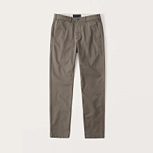 【Abercrombie&Fitch】【A&F】AF男款休閒長褲修身斜紋咖  F02210425-07