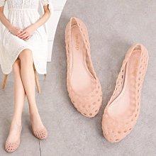 夏季新款鏤空護士果凍鞋防滑女士平底沙灘鞋媽媽鳥巢洞洞塑料涼鞋