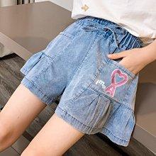 小圖藤童裝~~~中大童~~~女童牛仔短褲2021夏季新款童装印花中大童褲(A2637)