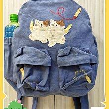 🏆【日本CARA卡拉貓】🏆卡拉貓後背包淡藍色純棉高35*寬30*厚12cm