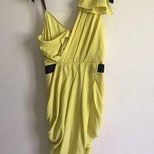 Rachael Roy 美國真品 檸檬黃單肩細肩帶立裁洋裝 女神款 值得收藏