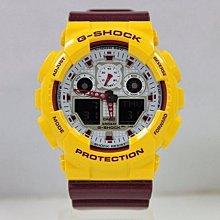 【美國鞋校】現貨 CASIO G-SHOCK 夏日亮彩 紫紅 黃 撞色 GA-100CS-9A 街頭潮流 手錶