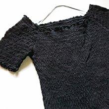 (((最後出清!!))) 二手 ~ GU 黑色抓皺 純棉 小可愛短版上衣 (M)