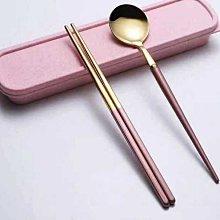【用心的店】304不鏽鋼多彩鍍色便攜餐具二件套 旅行野餐勺筷餐具盒裝二件套