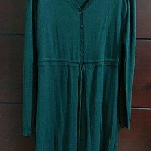 【春、秋出清】意大利品牌TWIN-SET 湖綠色V領Logo排釦,真絲混喀什米爾針織腰繫帶洋裝,歐碼M碼彈性佳 alice anne Lora Brunello