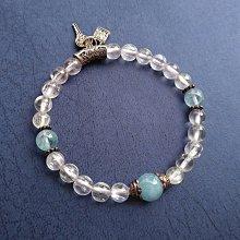☆采鑫天然寶石☆**心力量** 頂級紫鋰輝 (孔賽石Kunzite)+海水藍寶+925純銀配件手鍊~
