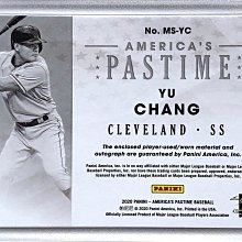 張育成 2020 Panini America Pastime 限量25張實戰球衣 Patch 簽名卡~王建民 陳金鋒