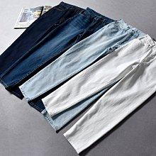 BEFE出口日本 歐美風 薄款 寬鬆 高腰 YKK拉鍊 九分哈倫牛仔褲