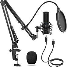 德國TONOR Q9電容式麥克風套組中振膜錄音專業麥克風 [麥克風+防震架+防噴網+麥克風架] 即插即用 ps4可兼容