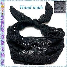 ☆POLLY媽☆手作黑色細綿線編織圖騰蕾絲手綁頭巾寬版髮帶