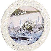 日本Ladonna BRIDAL系列 氣質白花朵圓形 2X3金屬結婚相框- BJ23-M-WH/ 另有5X7.4X6款