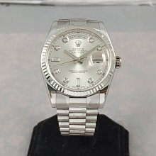 順利當舖 Rolex/勞力士  完全原裝實心新款118239型18K白金新式包台鑽面男錶