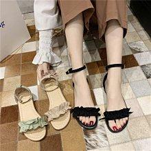 軟妹涼鞋女夏新款韓版一字扣帶低跟學生露趾百搭仙女風平底鞋