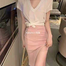 純欲風甜美性感吊帶連衣裙女夏季2021年新款粉色裙子開叉包臀短裙-NIJIANG小妮醬1627