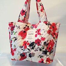 IN House*🇹🇼現貨 日本 花漾 鋪棉 菱格包 花卉 購物袋 托特包 太空包 輕量 手提包 肩背包 收納袋