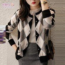 復古格紋針織外套 萌蔓物語【KX4133】韓西裝氣質女針織外套