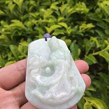 【小川堂】手工雕刻 坐蓮 厚料 A貨 天然 緬甸翡翠 蓮花 觀音 冰糯種 白底青