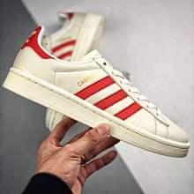 Adidas Originals Campus 奶油色 校園 皮革 紅線 復古 低幫 滑板鞋 男女鞋 CQ2069