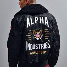 南◇現  ALPHA B-15 COALITION FORCES FLIGHT 黑色 老鷹 國旗貼布飛行外套