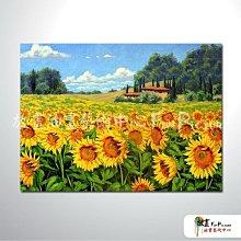 【放畫藝術】向日葵園A03 純手繪 油畫 橫幅 黃橙 暖色系 花海 田野 無框畫 民宿 室內設計 居家佈置