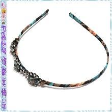 ☆POLLY媽☆歐美進口水鑽寶石造型印花布纏繞窄版髮箍~2款