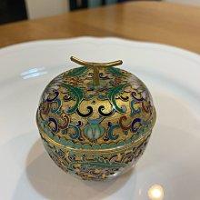 早期收藏-景泰藍 掐絲琺瑯 金地番蓮花蘋果盒 首飾盒