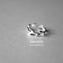 925純銀戒指-阪堂SAKADO-韓版設計師款--橄欖枝開口戒(尺寸可調)