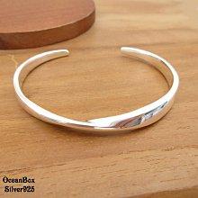 ☆§海洋盒子§☆質感亮面莫比烏斯環925純銀開口式手環 OB9723 (B)《附贈禮盒+拭銀布》