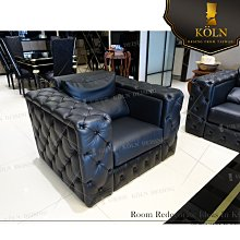 爵品訂製沙發 NC-S-124複刻歐式拉扣單人牛皮沙發,可訂制布藝沙發,尺寸、面料顏色可改、客制化《 專屬客制傢俱》