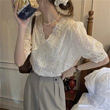 YOHO 短袖上衣 (HH071460) 實拍法式V領氣質寬鬆蕾絲上衣 有2色